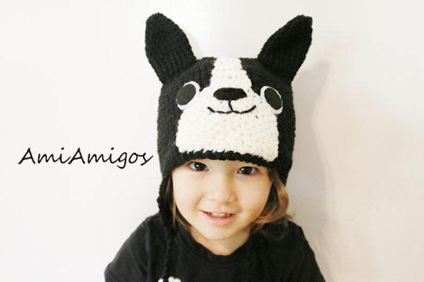 Crochet Boston Terrier Hat