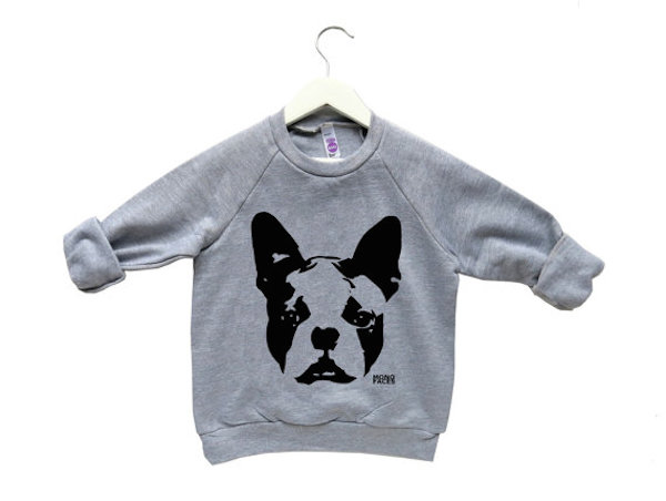Boston Terrier Kids Sweatshirt by MONOFACESoCHILDREN
