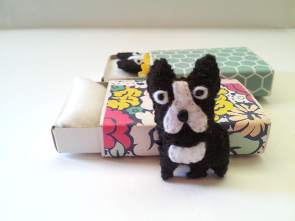 Boston Terrier in a Matchbox by owlhaveyouinstitches