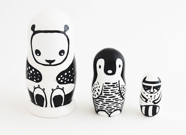 Set of 3 Wooden Nesting Dolls