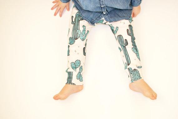 Lola and Stella Organic baby leggings in cactus print