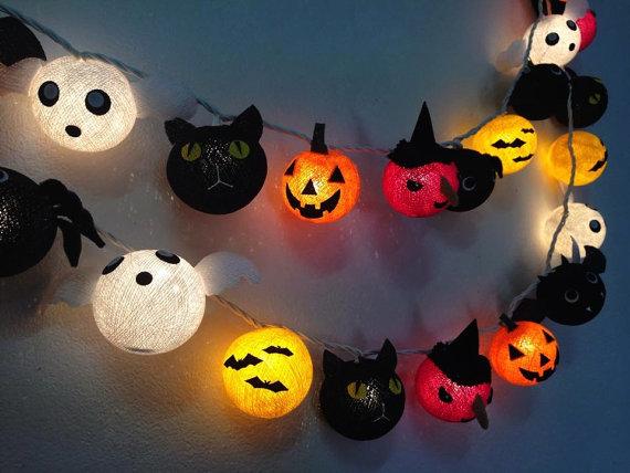 Ginew Halloween Set Cotton Ball String Lights