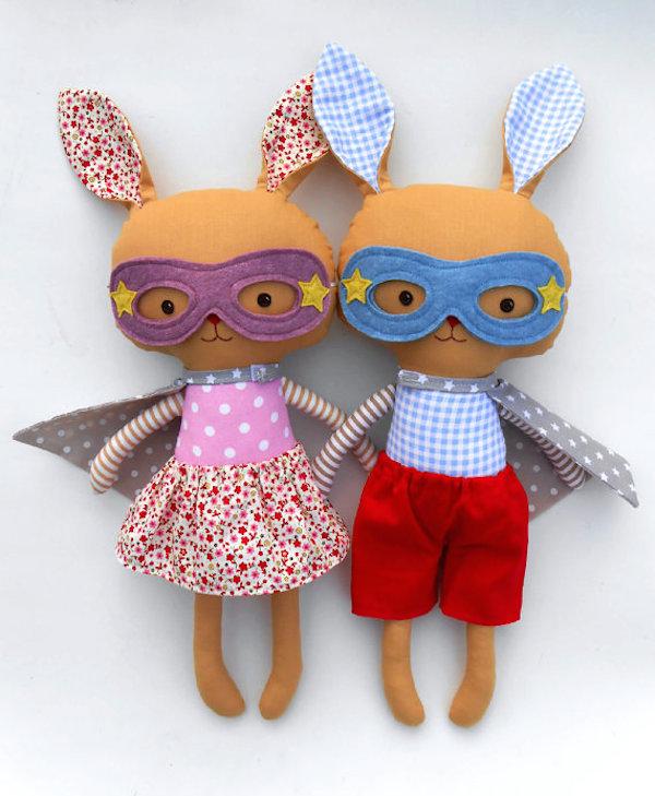 La Loba Studio Super Hero Bunnies| Girl Bunny ONLY | Boy Bunny ONLY