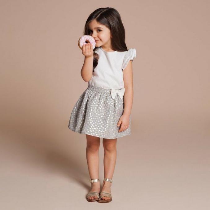 Lace Flutter Sleeve Top $79.20; Metallic Spot Skirt - Blue / Gold$90.75