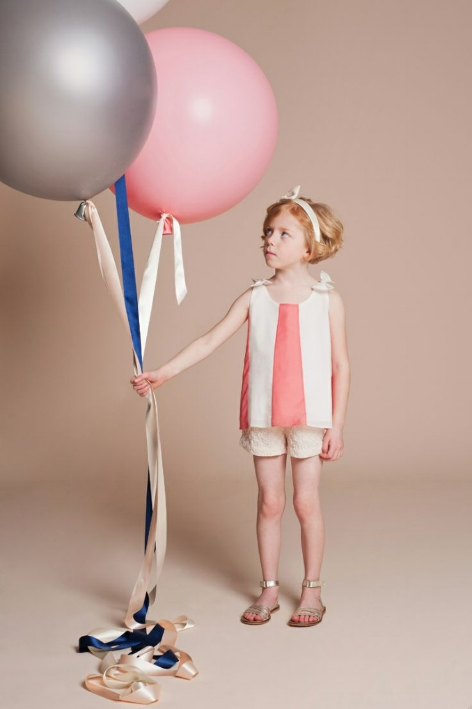 Ballon Panel Trapeze Top $87.45;   Flower Jacquard Tailored Shorts $75.08;   Giant Stripe Bow Hairband $49.50