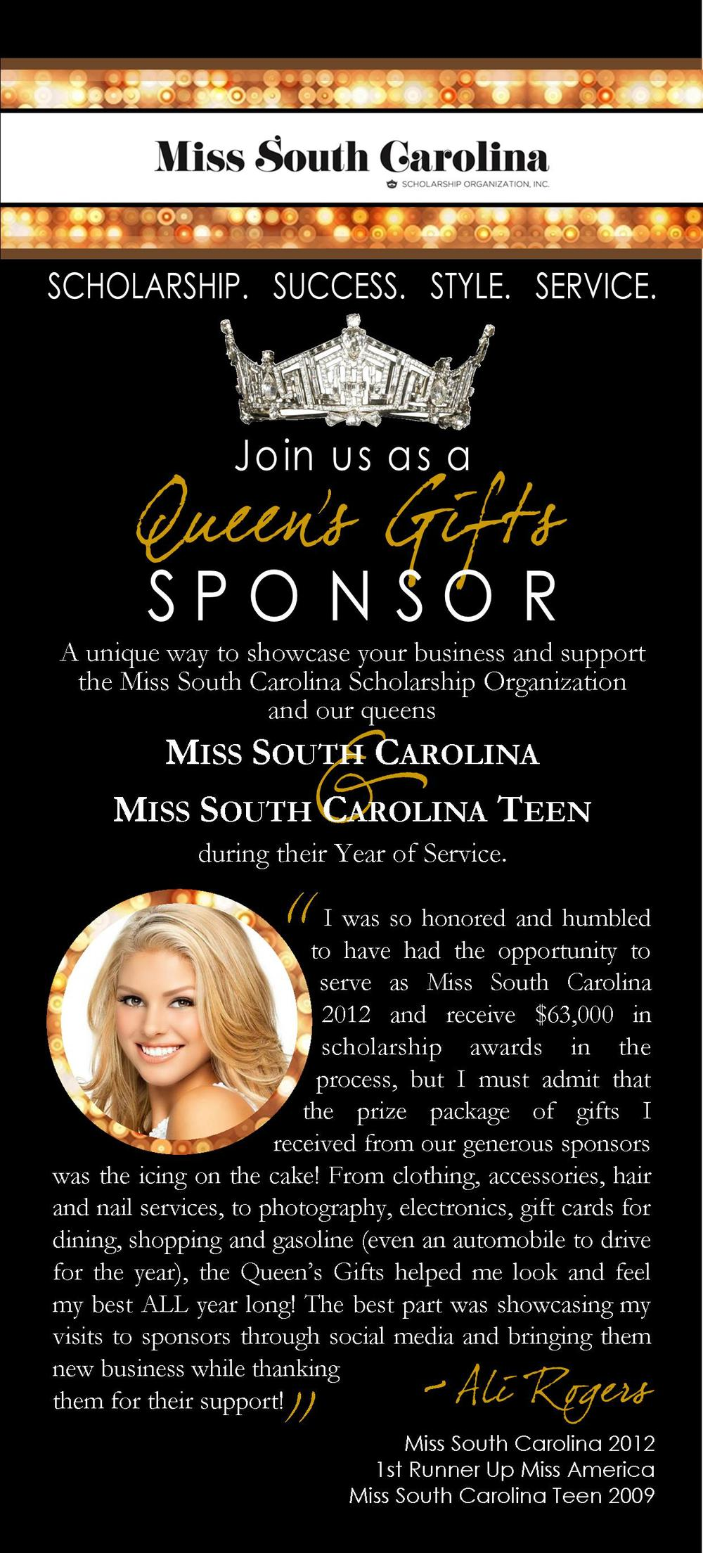 BROCHURE INSERT / Miss South Carolina Scholarship Organization, Inc.