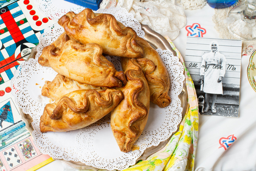 Heaps of pasties & a business postcard from the first generation of family pie makers.