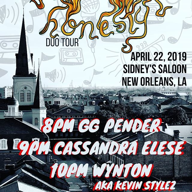 Hey NEW ORLEANS loves! 💙 Monday the 22nd we will be at @sidneyssaloon in New Orleans with the amazing @justwynton and @ggpender for a smooth and sultry night of music. Tag a someone you know in or near New Orleans to let them know about our show to be entered in a chance to win a free Honesty shirt!  PS all the art from our album and shirts is by a beautiful and talented human being- check her out @meganbijou 😍😍😍