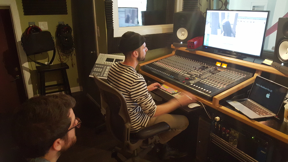 Soundtrack Composer Evan Chapman and Sound Designer Sam Nuttle hard at work on the film!