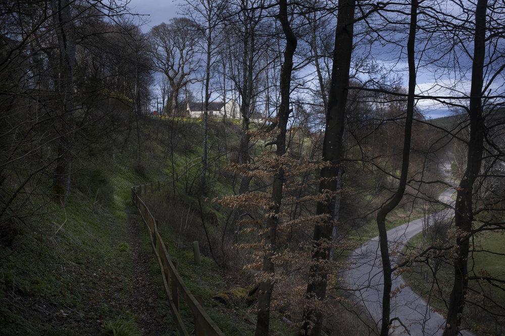 A trail winds through the hills near Dufftown.