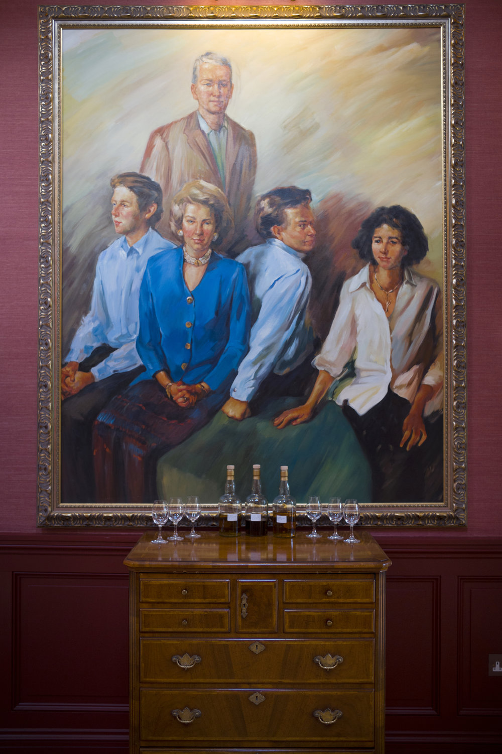 A portrait of the Macpherson-Grant family hangs in the Ballindalloch Distillery,