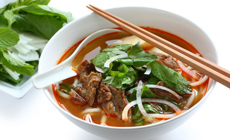traditional noodle soup among the Vietnamese, this rice noodle soup ...