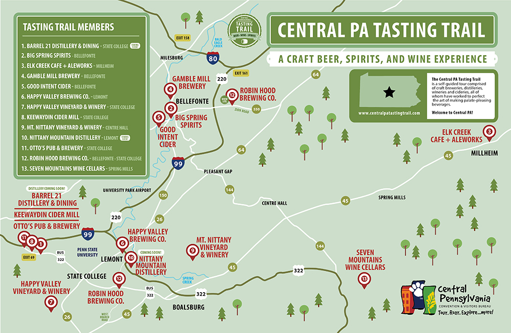 Central PA Tasting Trail map — DRAWSTRING DESIGN Co.