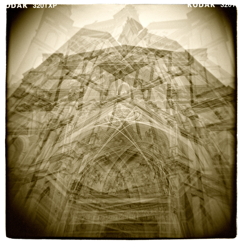 """Agitated"" Basilica di Santa Croce, Florence H1461 (In-Camera Quintuple Exposure)"