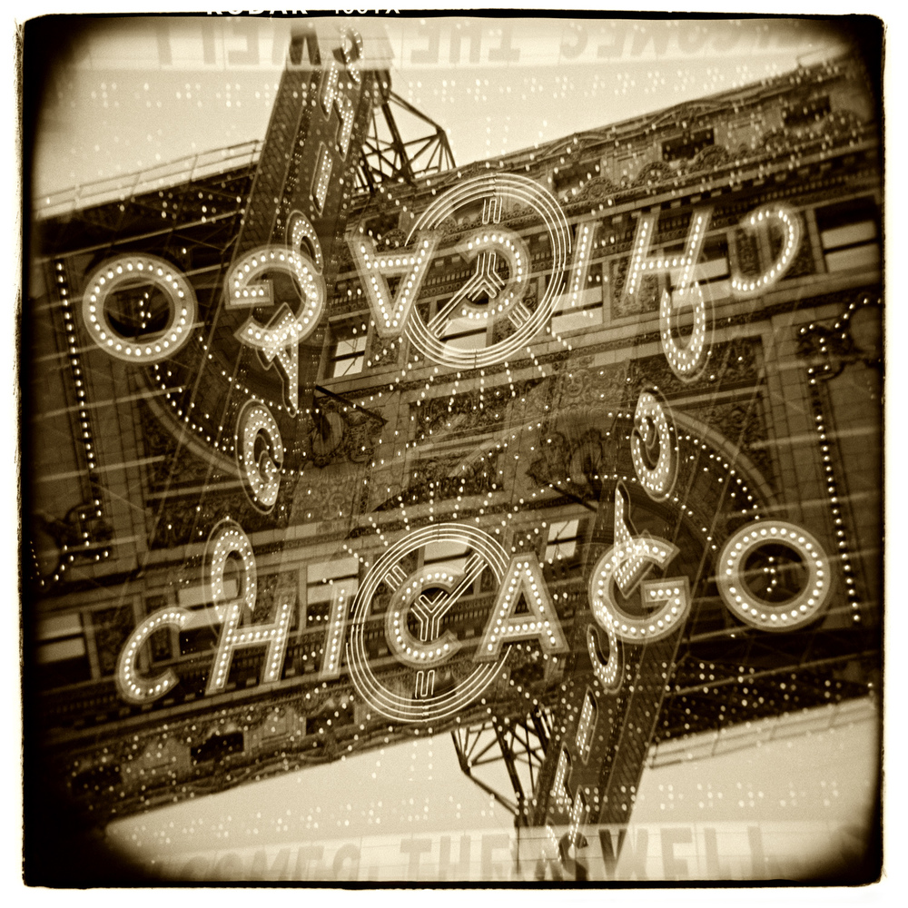 """Chicago Theatre"" H1464 (In-camera Double Exposure)"