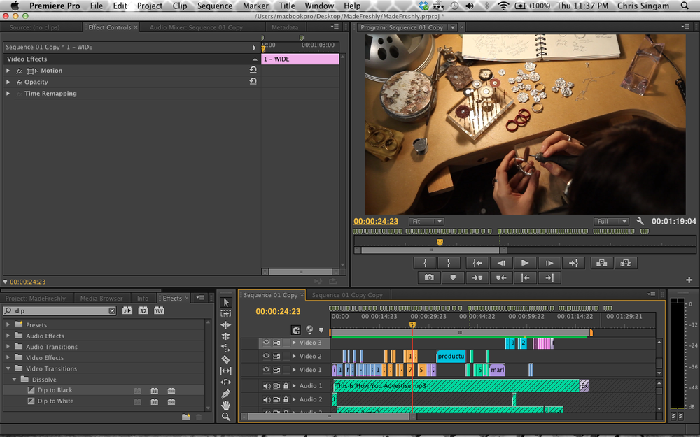 Here's a screenshot of my editing workspace for the video.