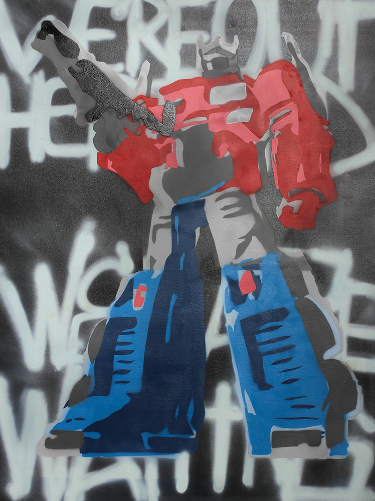 """Optimus Prime"" Stencil Print by Chris Singam and Arik Espiritu"
