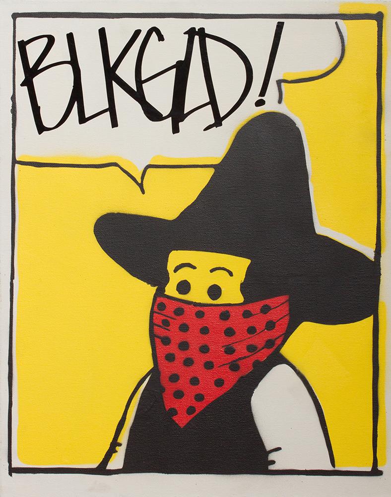 """BLKGLD. Bandit"" Stencil Print by Chris Singam"