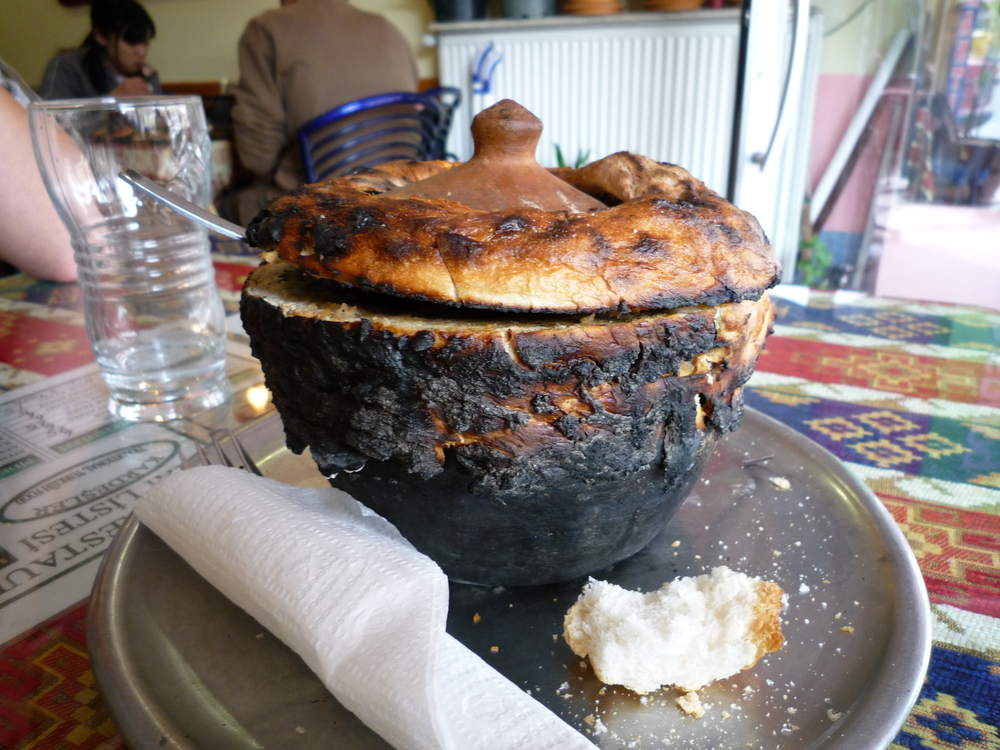 Clay pot stew in central Turkey