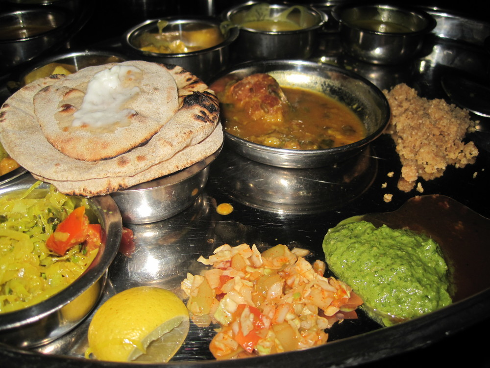 Rajasthani thali in Delhi, India