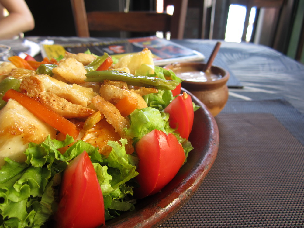 Grilled chicken salad in Salvador, Brazil