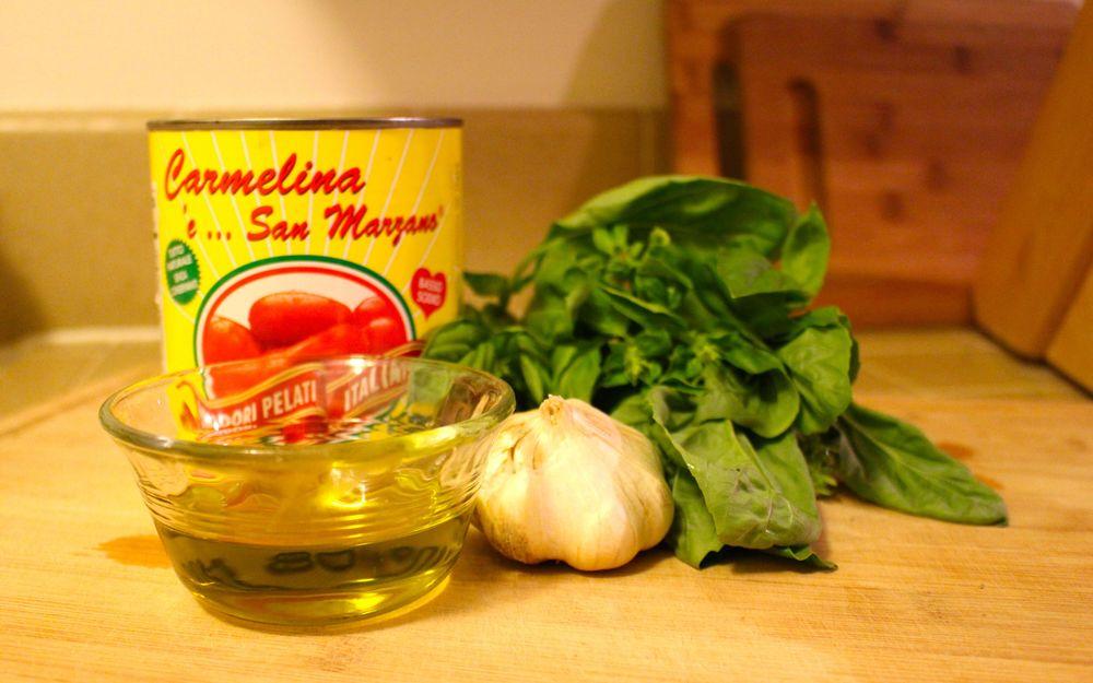 tomatoes, olive oil, garlic, basil
