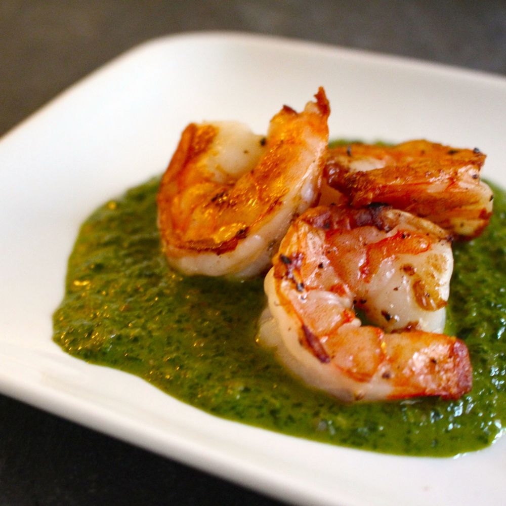 Seared Shrimp with Sauce Verte
