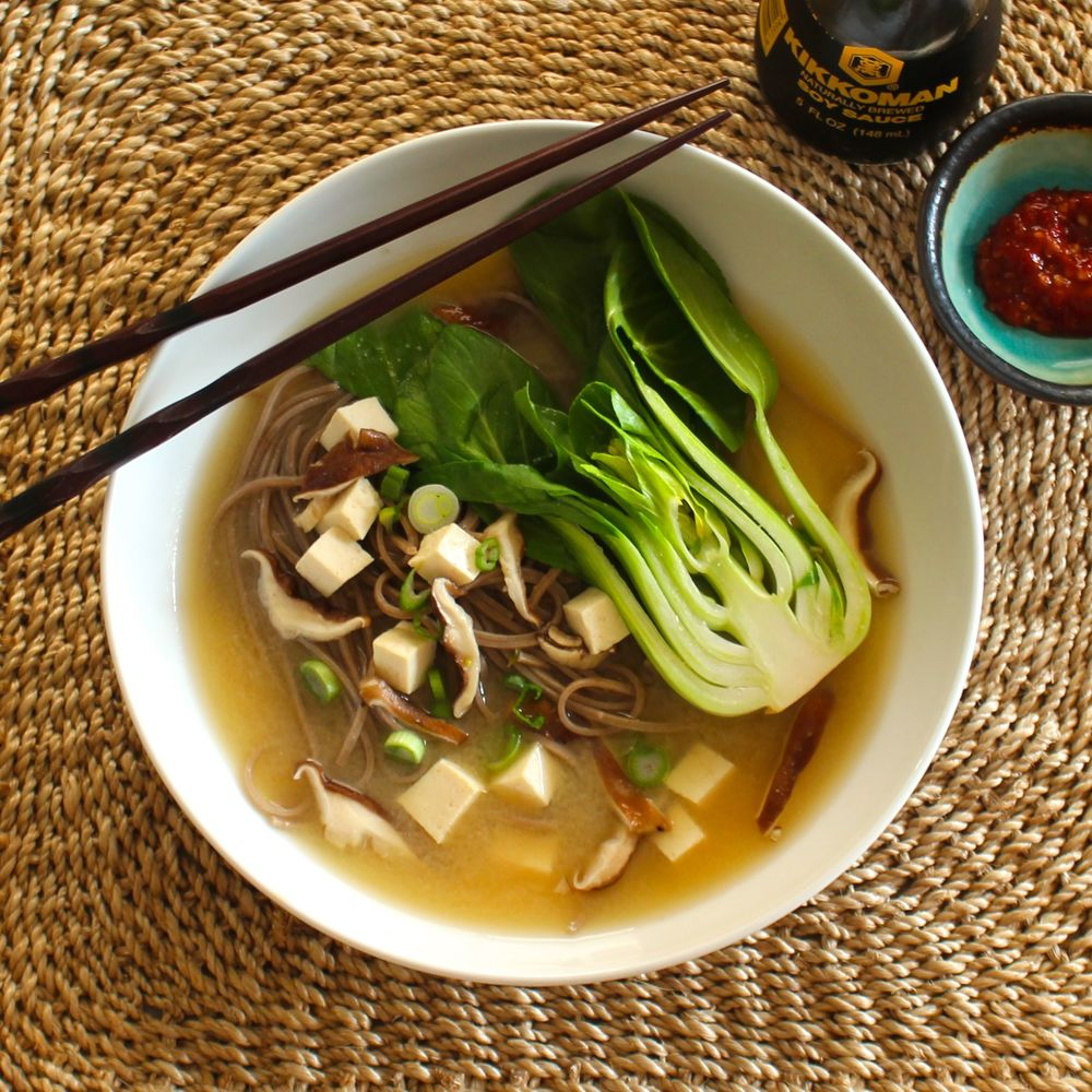 Miso Noodle Soup with Buckwheat Soba and Bok Choy