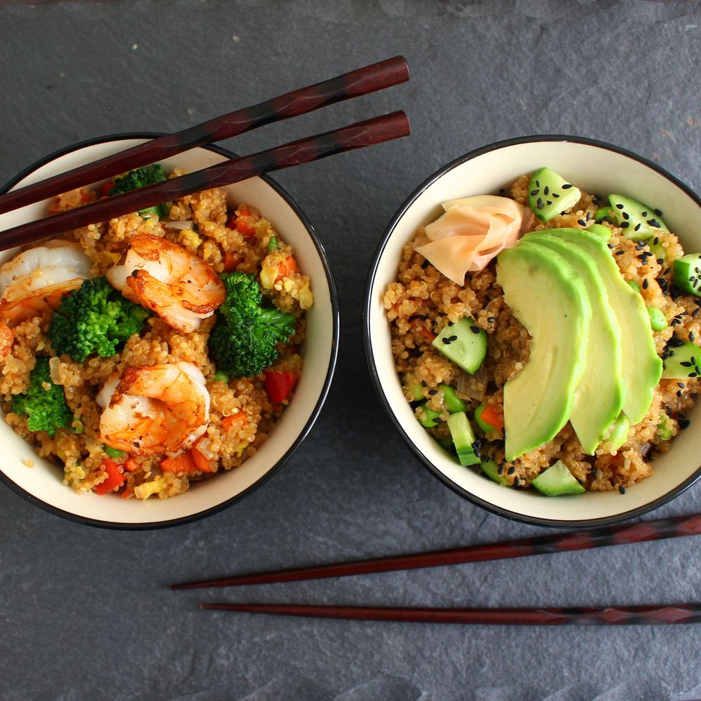 Two takes on quinoa - Shrimp Fried and Sushi Bowl