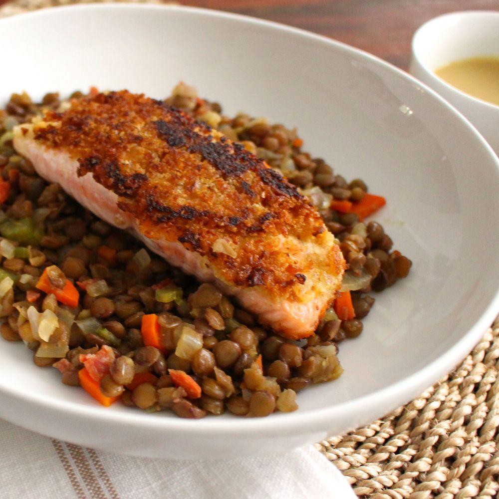 mustard-salmon-lentils