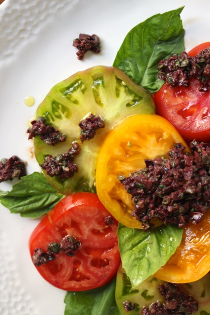 Heirloom Tomato and Tapenade Salad - Borrowed Salt