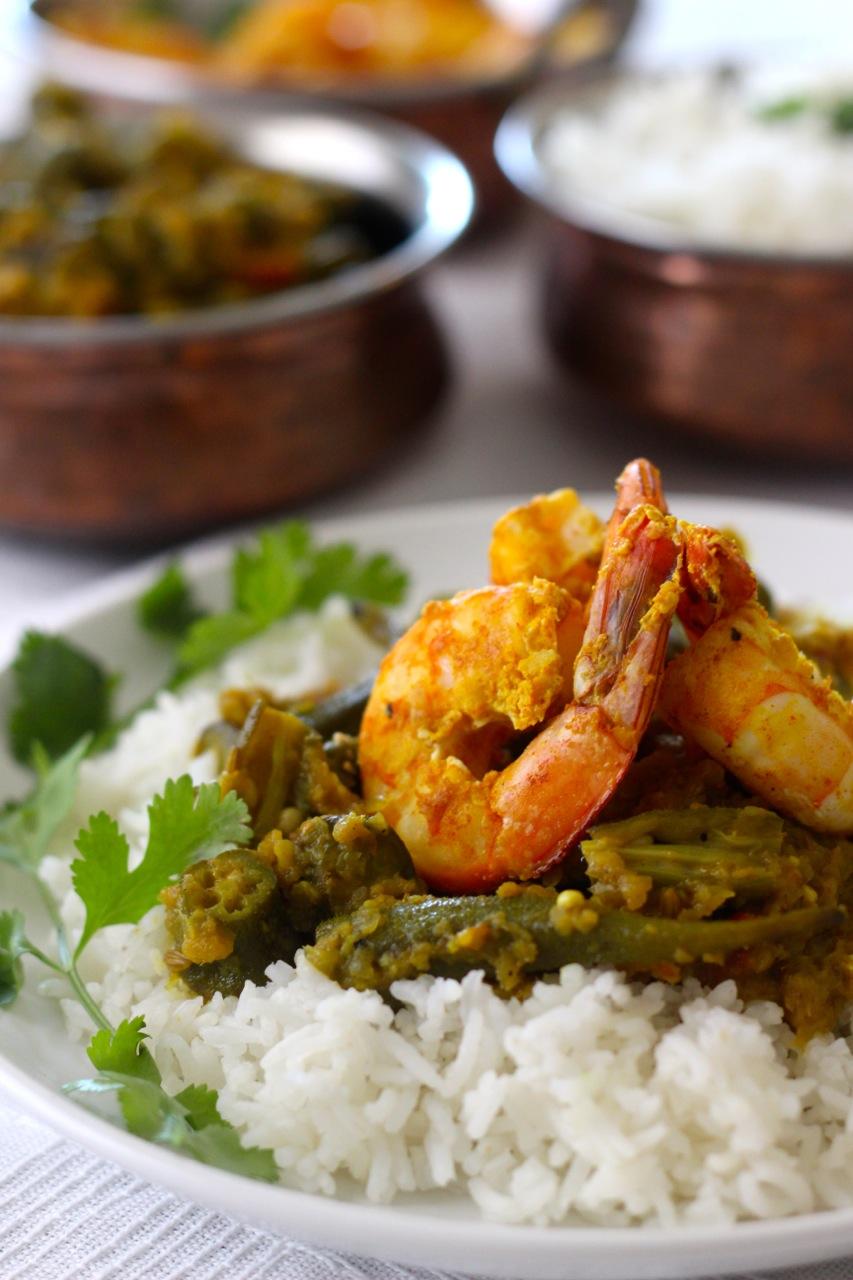 Okra and Tandoori Shrimp - Borrowed Salt