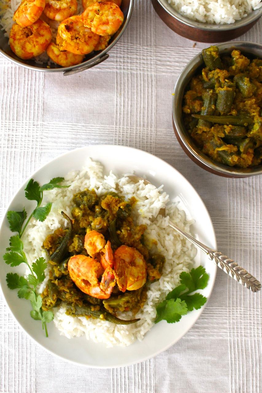 Okra and Tandoori Shrimp