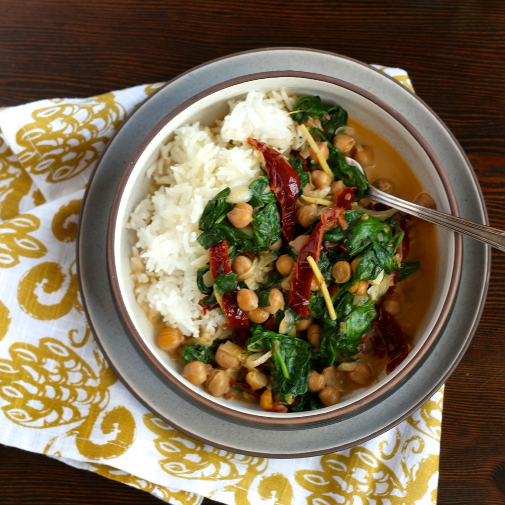 Coconut Chickpeas with Preserved Lemon and Spinach