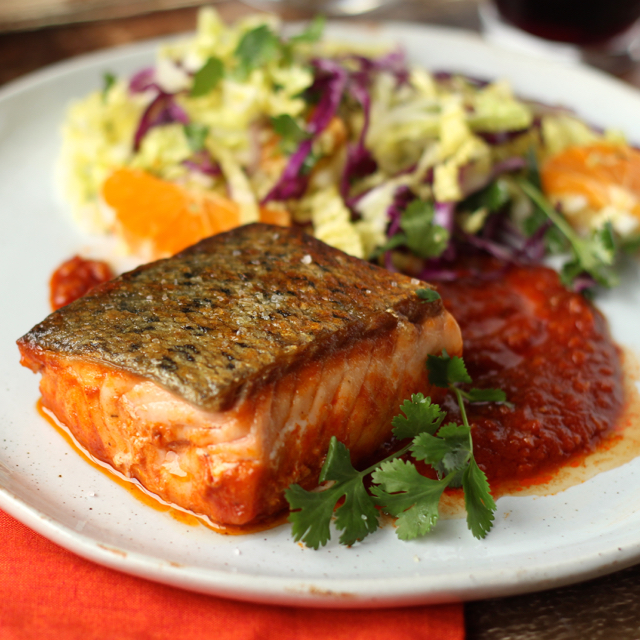 Salmon in Chraimeh Sauce with Winter Slaw