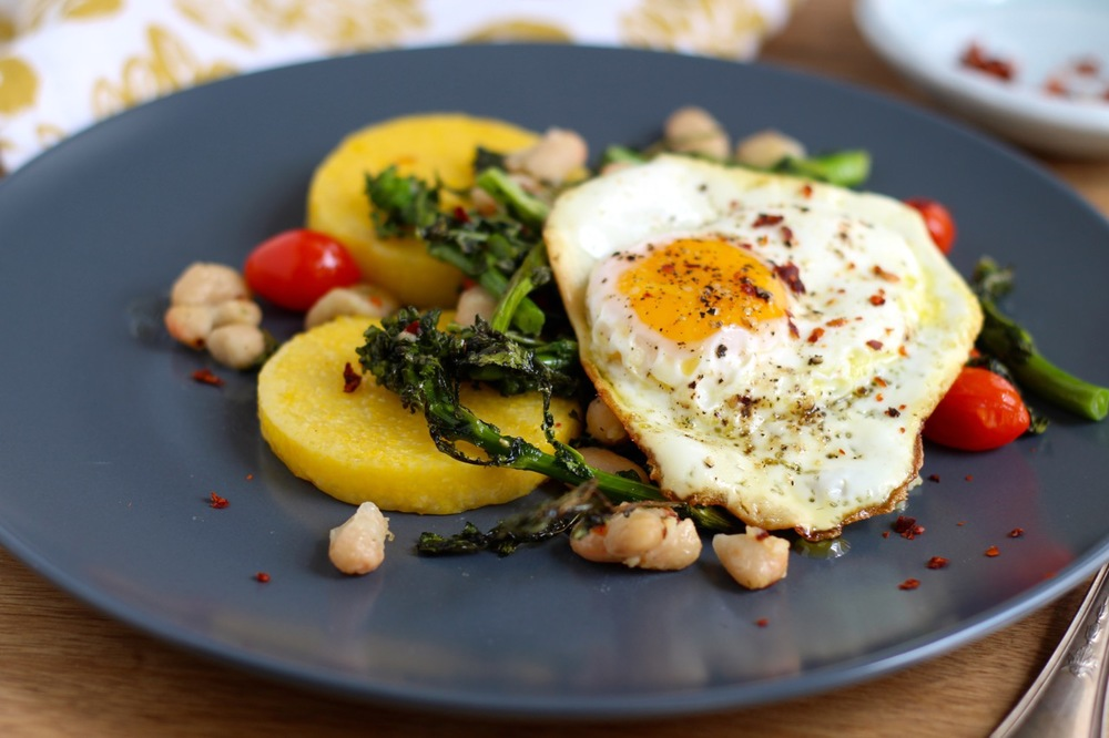 Rapini and White Beans with Polenta and Crispy Egg