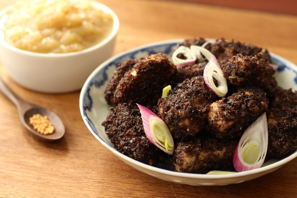 Black Rice Crusted Pork with Apple Mostarda