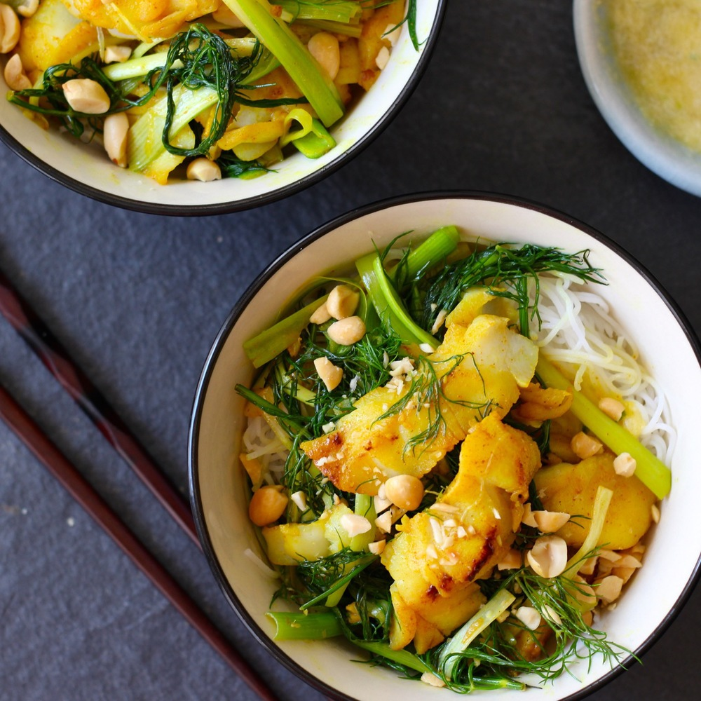 Cha Ca La Vong - Hanoi Fish with Turmeric, Pineapple and Dill