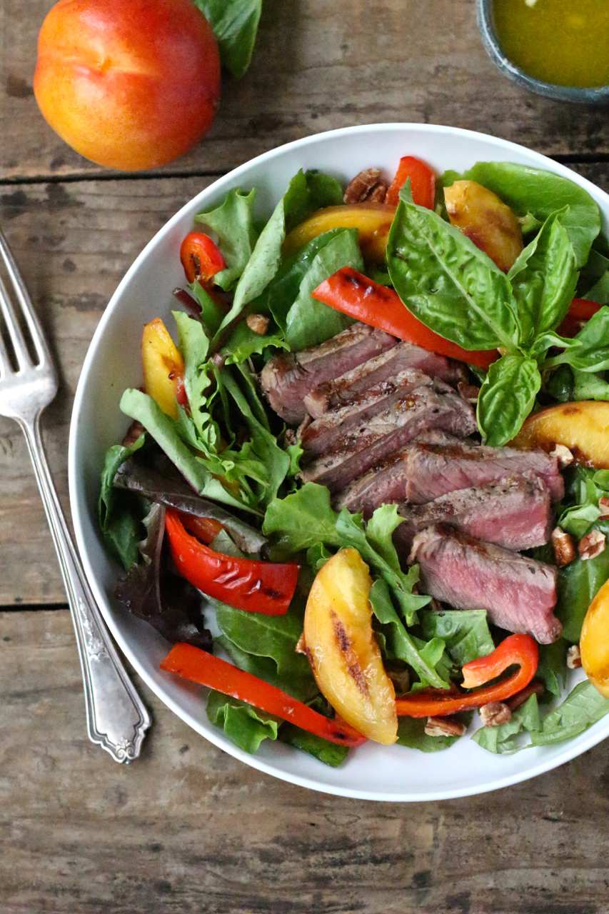 Steak Salad with Grilled Nectarines, Red Peppers, Pecans and Basil - Borrowed Salt