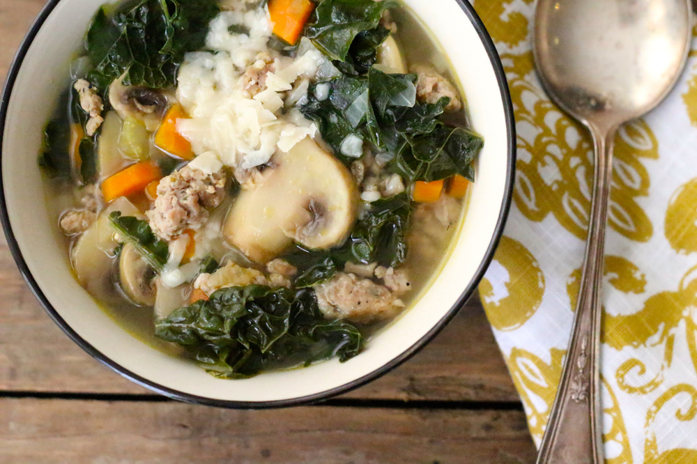 ... soup for days. Kale and farro make it a nice balanced meal, and it