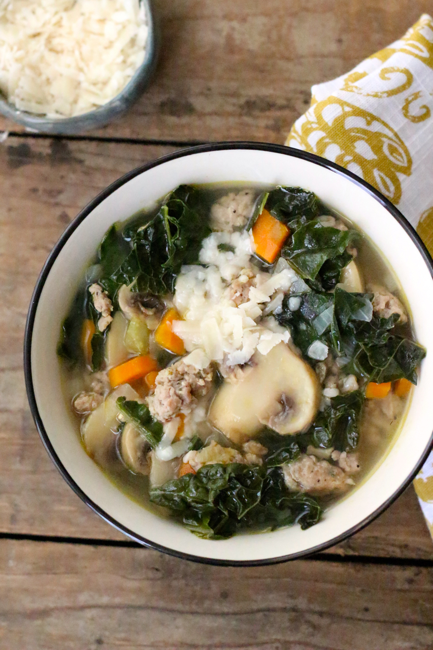 Kale, Sausage and Farro Soup with Roasted Garlic -Borrowed ...