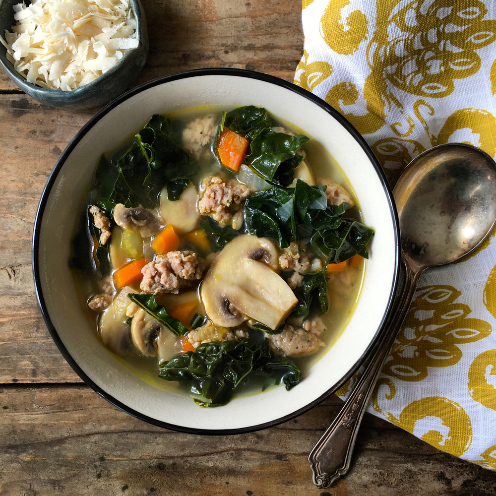 Kale, Sausage and Farro Soup with Roasted Garlic -Borrowed Salt
