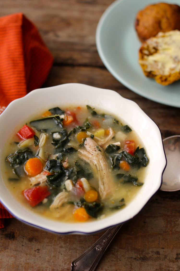 Black Friday Turkey Soup with Kale and Potatoes-Borrowed Salt