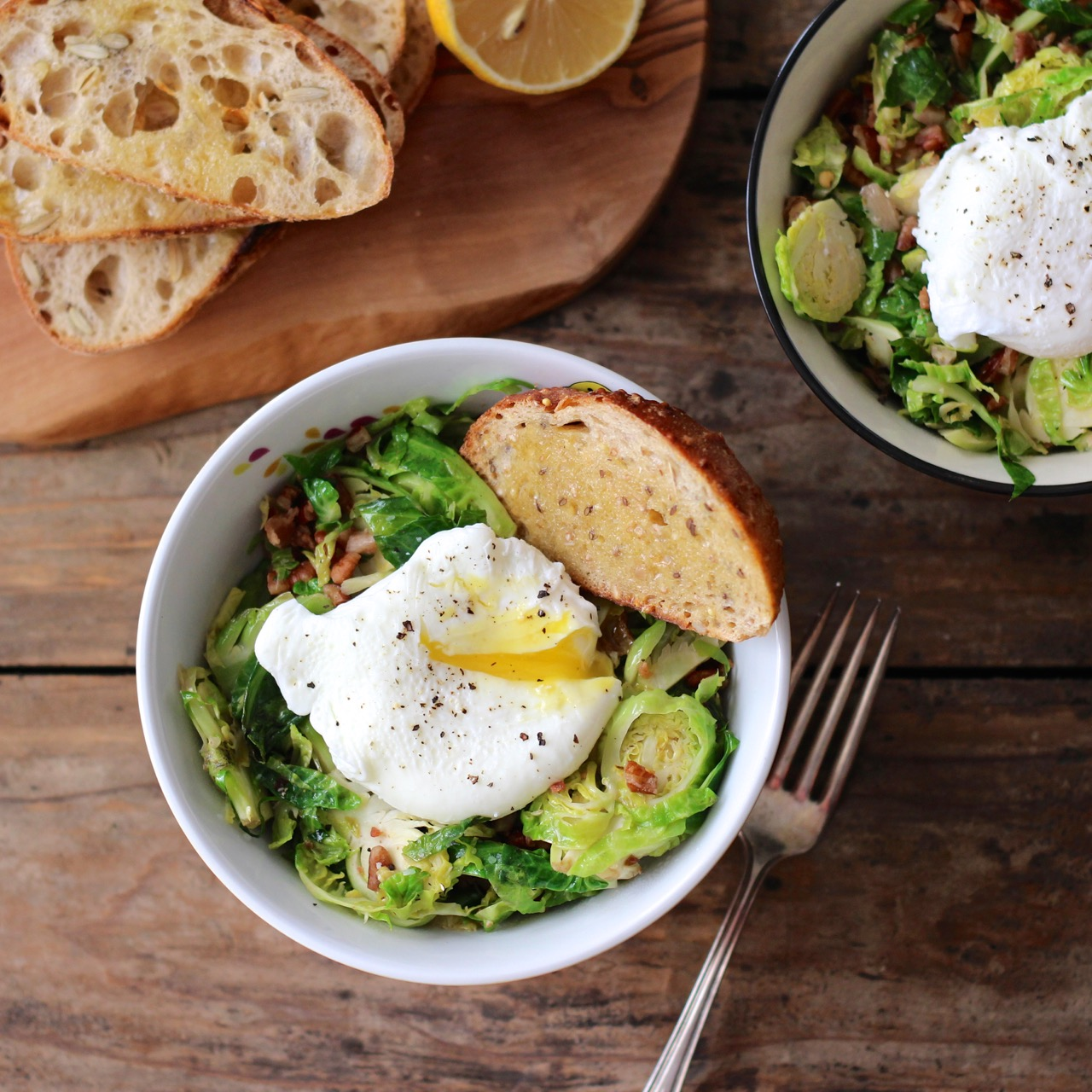 Brussels Sprouts, Pecans & Bacon with Lemon and Egg