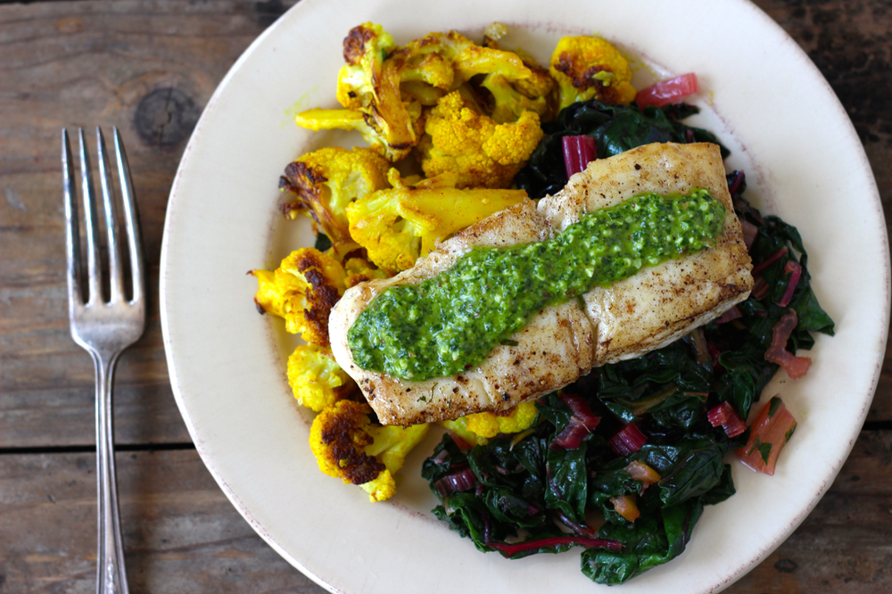 Seared Fish with Sauce Verte, Cauliflower, Preserved Lemon and Chard