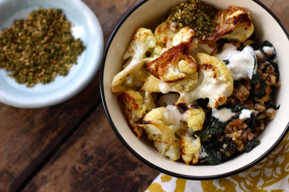 Freekeh & Roasted Cauliflower Bowl with Kale and Walnuts