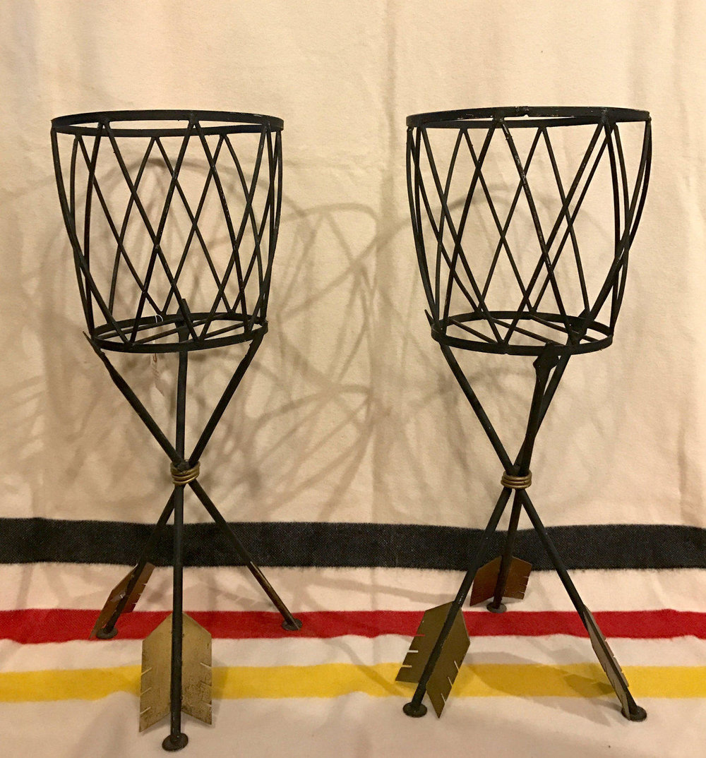 Picture of: Magnificent Pair Of Mid Century Modern Metal Plant Stands Pick Up Only The Times Vintage