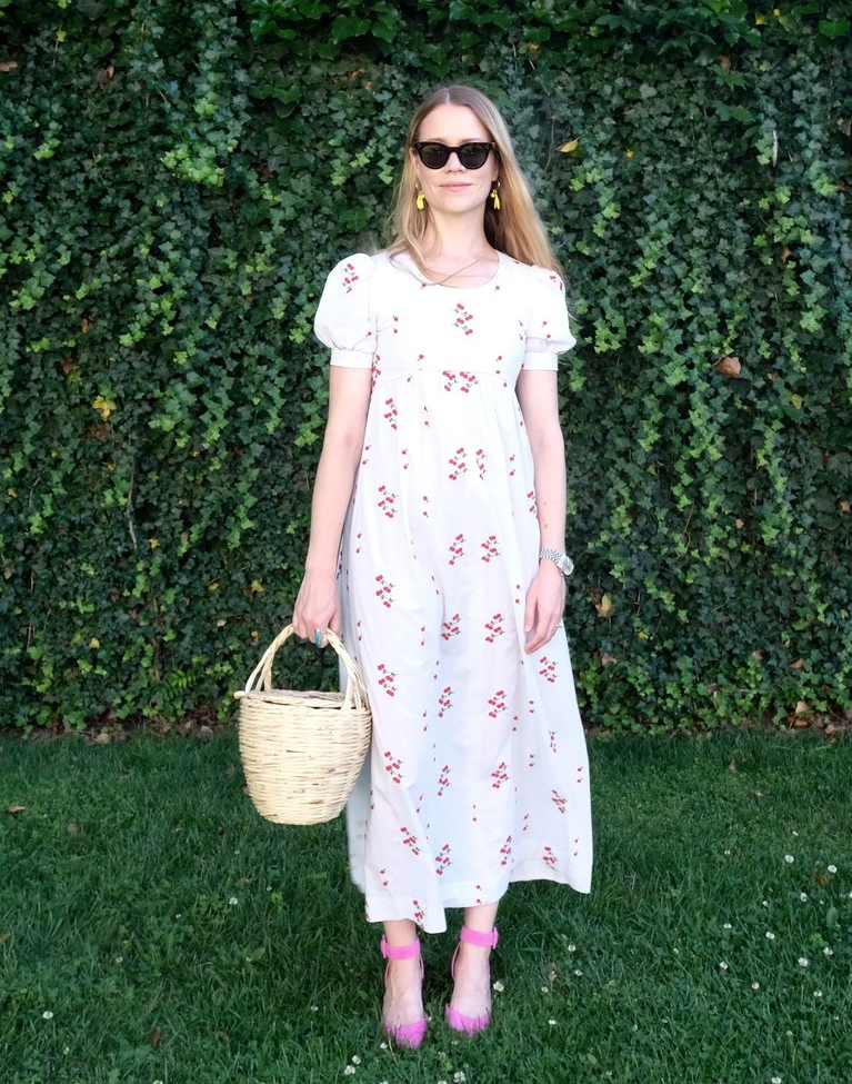 Allison Fry wearing embroidered cherry dress via TTV.