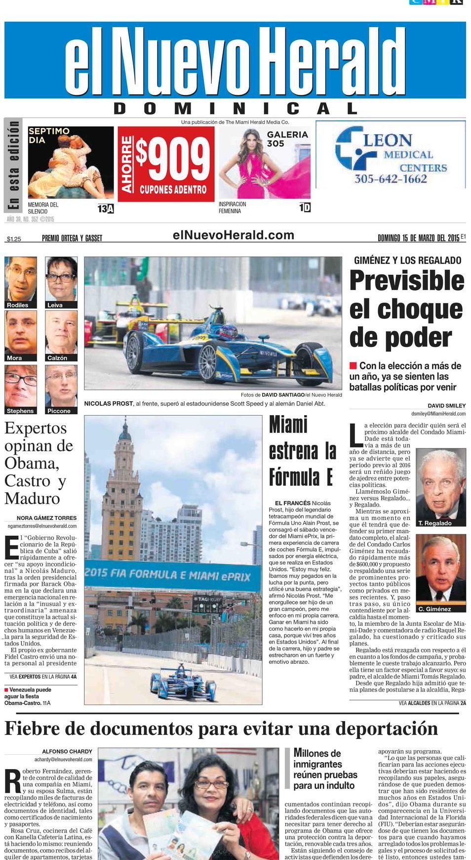 2015 FORMULA E   NUEVO HERALD FRONT PAGE