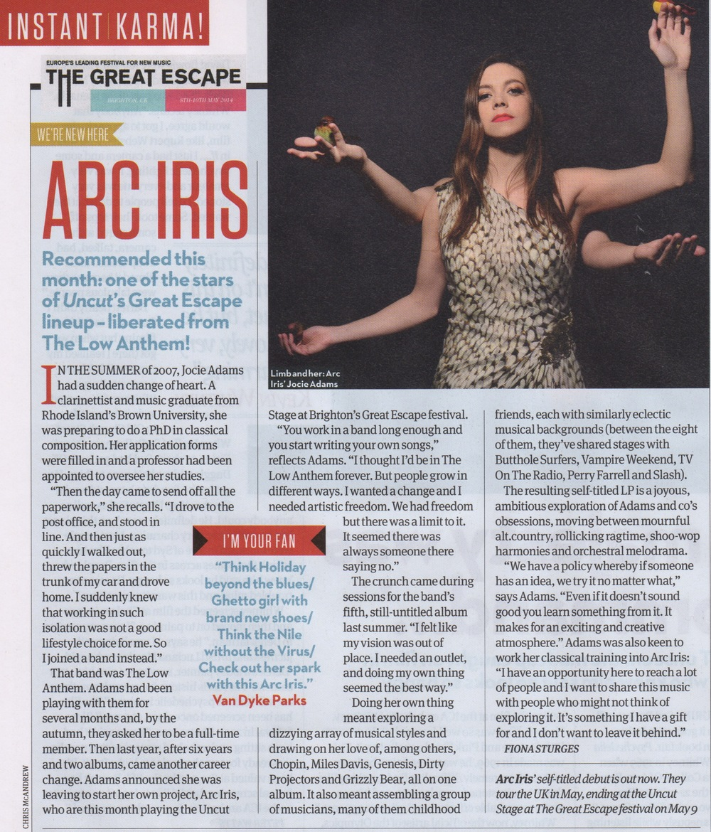 Uncut Magazine  has featured Arc Iris in their new issue, on stands now!